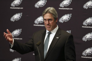 Doug Pederson answers questions after he was introduced as the Philadelphia Eagles' new head coach during an NFL football news conference, Tuesday, Jan. 19, 2016, in Philadelphia. Pederson, a former Eagles quarterback, was Kansas City's offensive coordinator under Andy Reid the past three seasons. He inherits a team that went 7-9 under fired coach Chip Kelly. (AP Photo/Mel Evans)