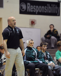 TOM KELLY IV Ñ DAILY TIMES The Ridley head coach during the Ridley at Strath Haven high school wresting match, Thursday December 11, 2014.