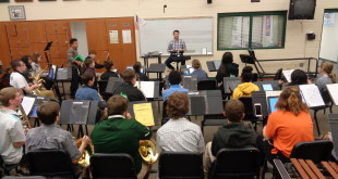 Mr Murgidi teaching raider time  concert band